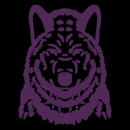 Dibujado a mano serio lobo frente