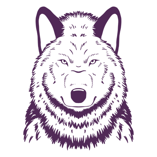 Wolf front serious hand drawn