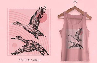 Desenho de t-shirt de patos desenhados à mão