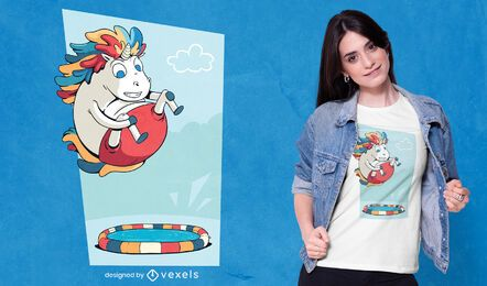 Diseño de camiseta unicorn bomb