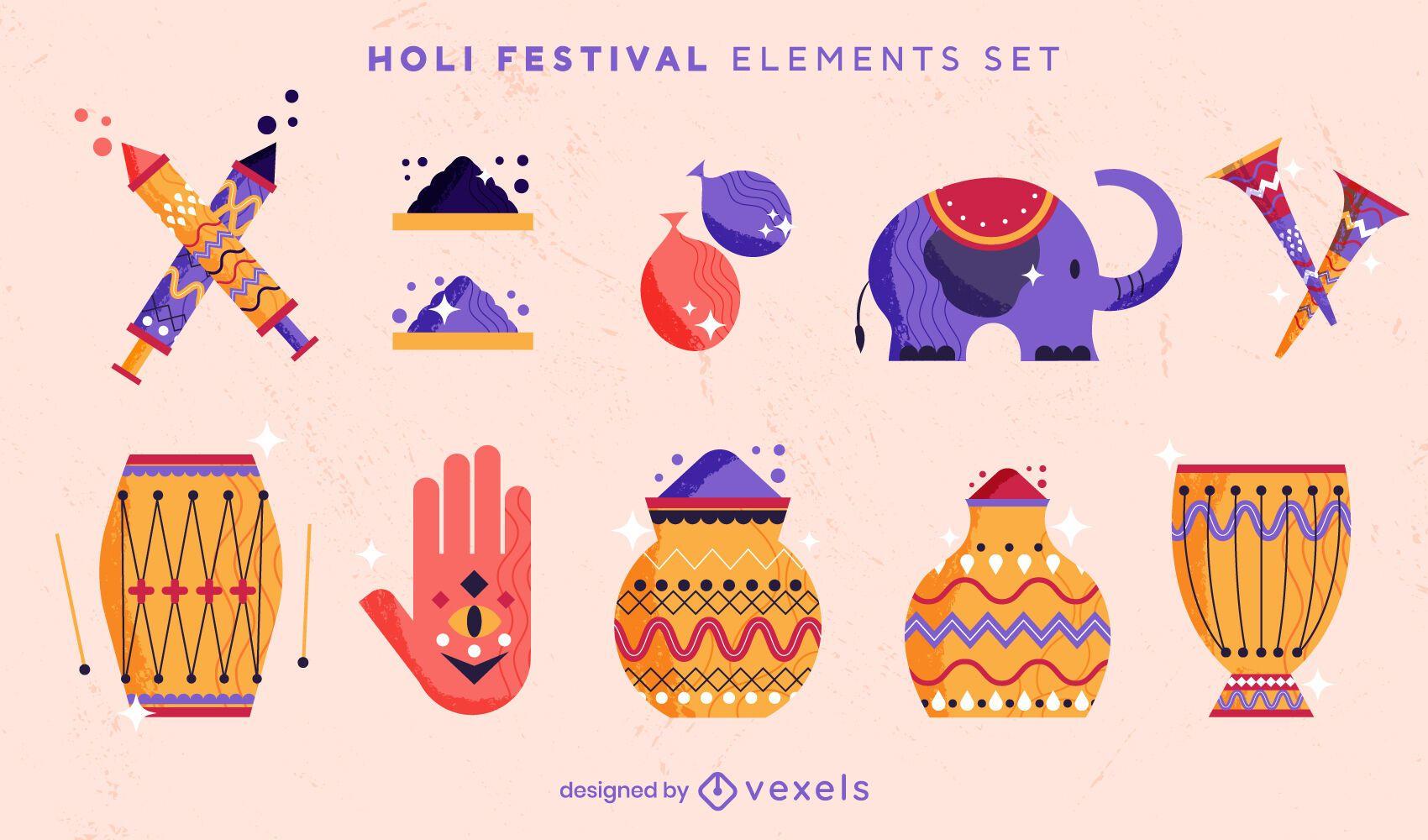 Holi festival elements vector set