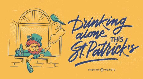 Alone this st patricks illustration design