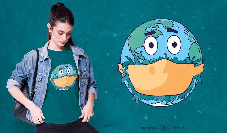 Face mask earth t-shirt design