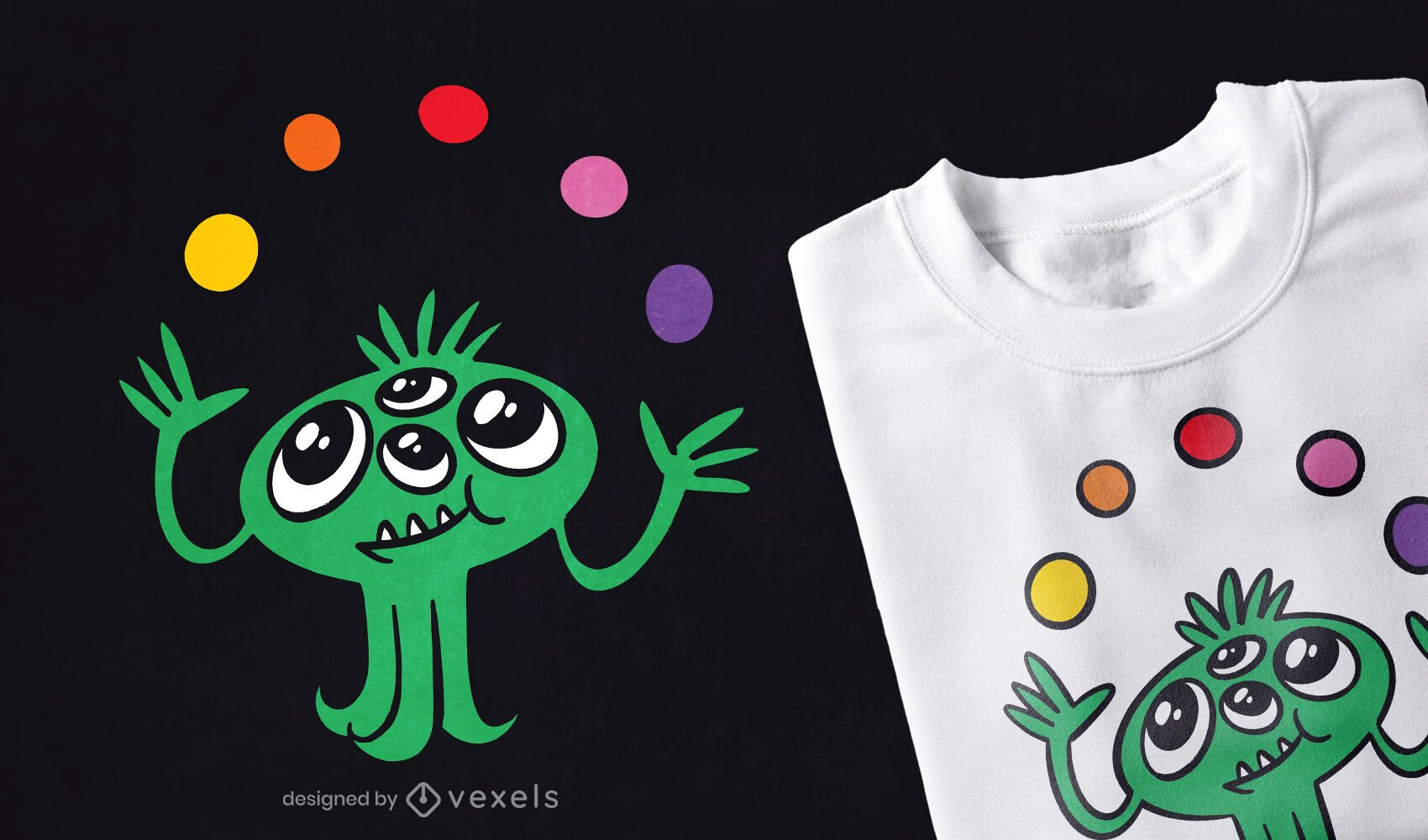 Malabarismo com design de camiseta de monstro