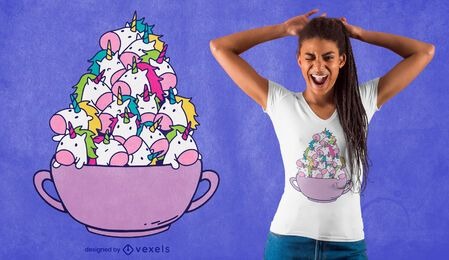 Diseño de camiseta unicornio