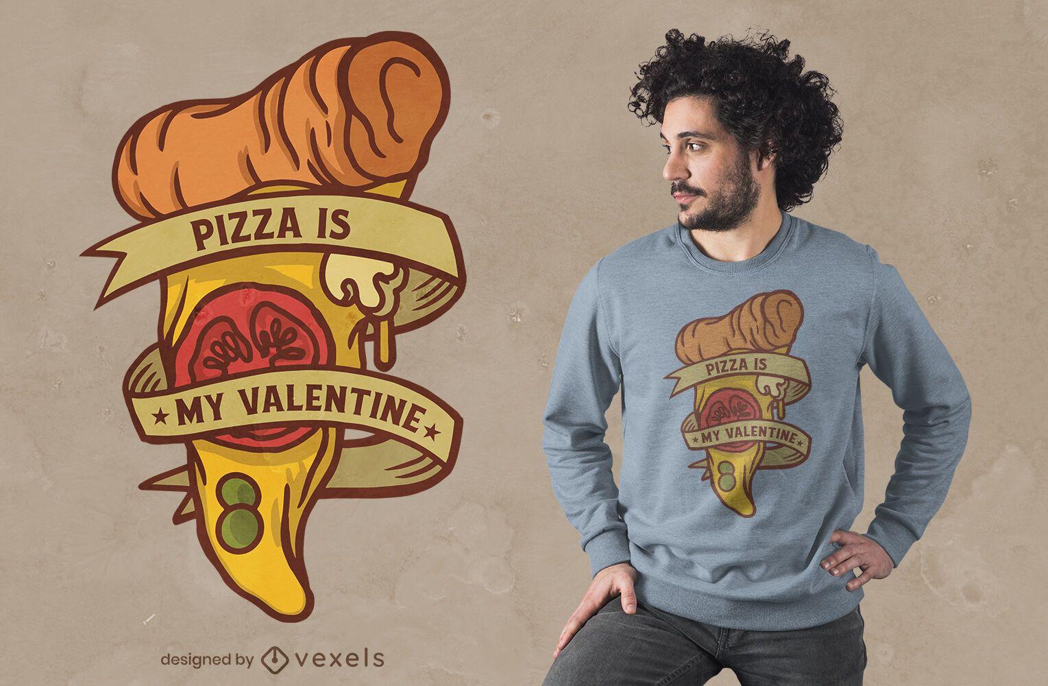 Diseño de camiseta de pizza de san valentín