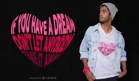 Design de camiseta com letras de coração