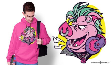 Diseño de camiseta de cerdo punk