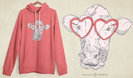 Diseño de camiseta de gafas de vaca.
