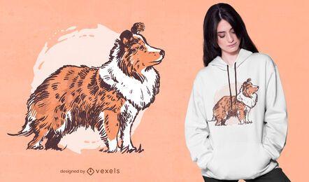 Diseño de camiseta de cachorro de collie