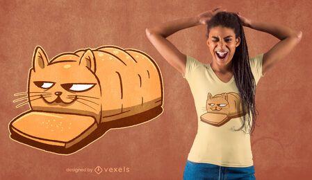 Diseño de camiseta de gato de pan