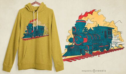 Design de camiseta de trem a vapor