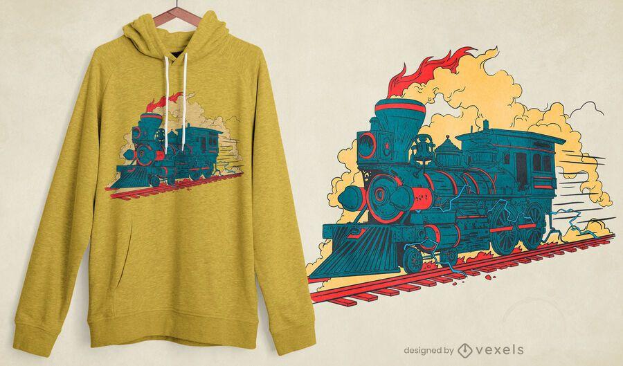 Diseño de camiseta de tren de vapor.