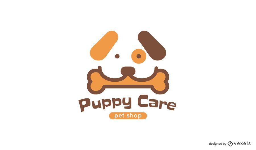 Plantilla de logotipo de cuidado de cachorros