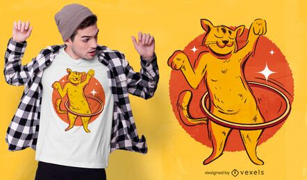 Hula hoop cat t-shirt design