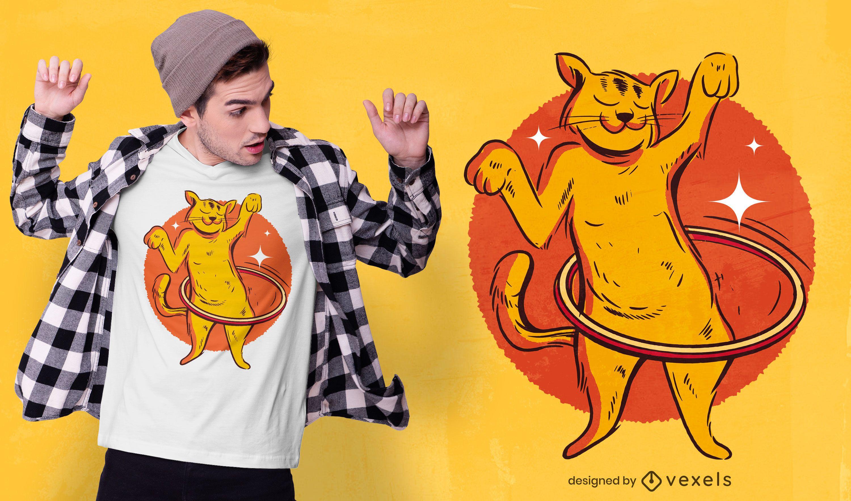 Diseño de camiseta de gato hula hoop