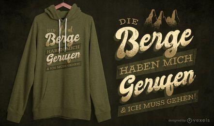 Design de camisetas com citações alemãs de montanhas