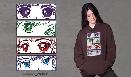 Design de camisetas com olhos de menina em anime