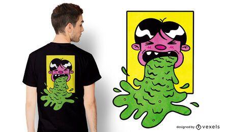 Diseño de camiseta de vómito de dibujos animados