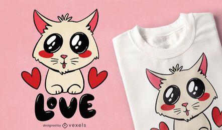 Diseño de camiseta lindo gato amor