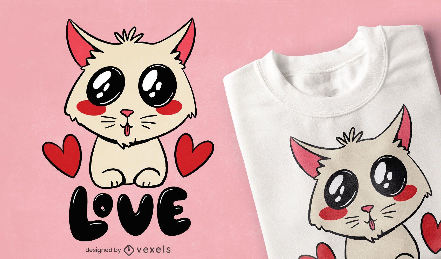 Design de t-shirt de amor de gato fofo