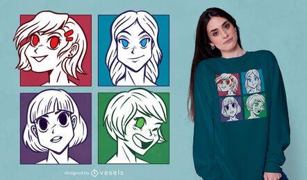 Design de camisetas de anime girls heads