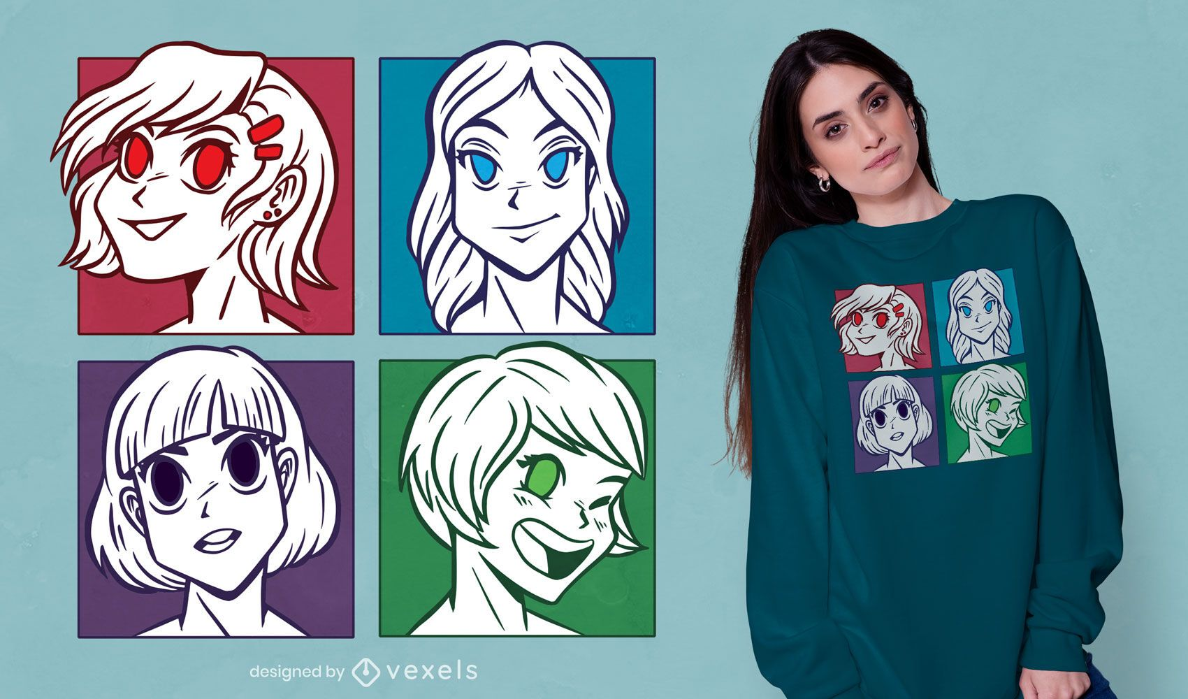 Diseño de camiseta de anime girls heads
