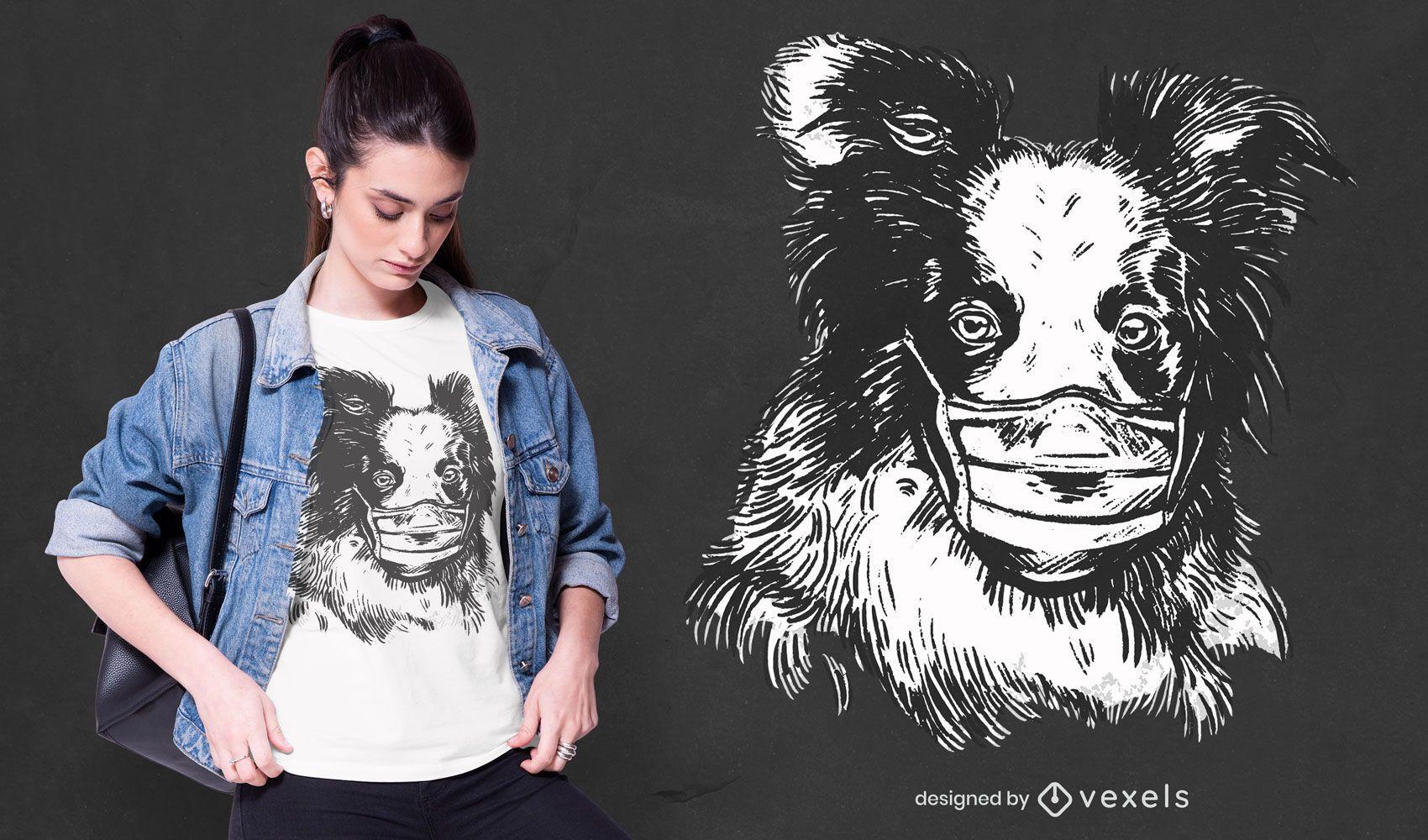 Face mask collie t-shirt design