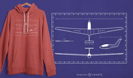 Plane blueprint t-shirt design