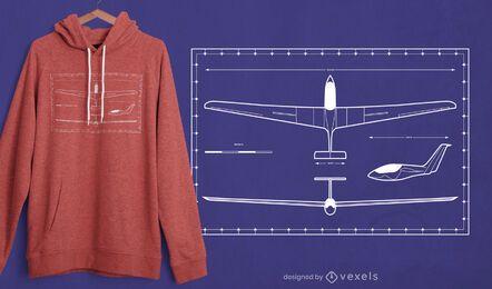 Projeto da t-shirt do avião