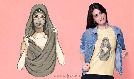 Diseño de camiseta de mujer árabe