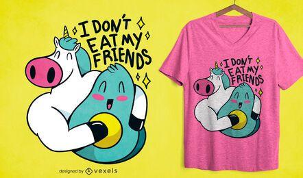 Don't eat my friends diseño de camiseta