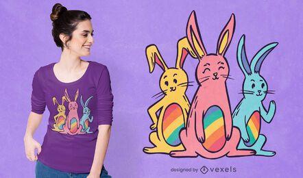 Diseño de camiseta de conejitos arcoiris