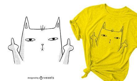 Diseño de camiseta de gato de dedo medio