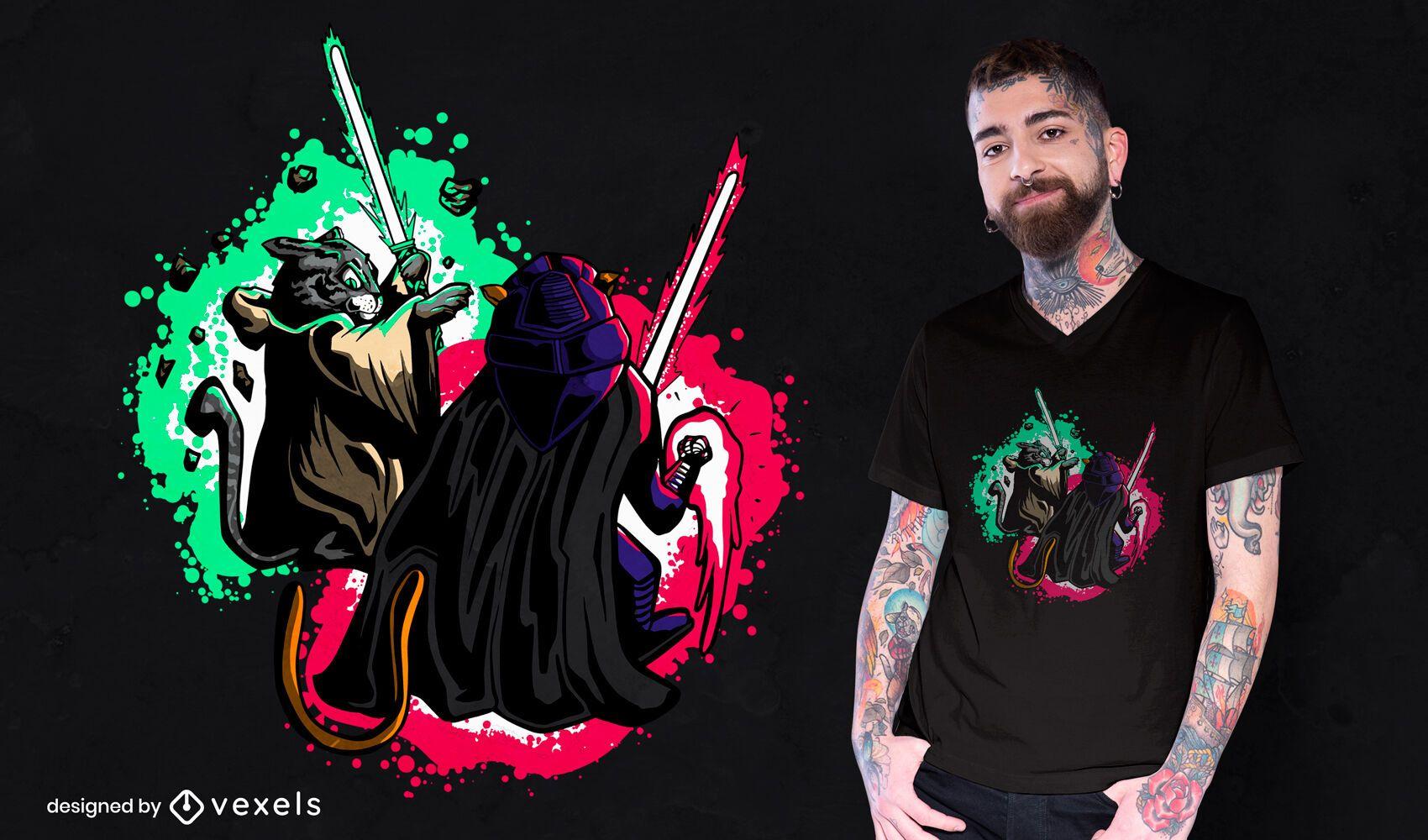 Diseño de camiseta de espadas ligeras de gatos.