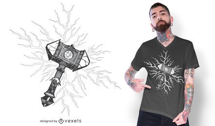 Diseño de camiseta de martillo vikingo.