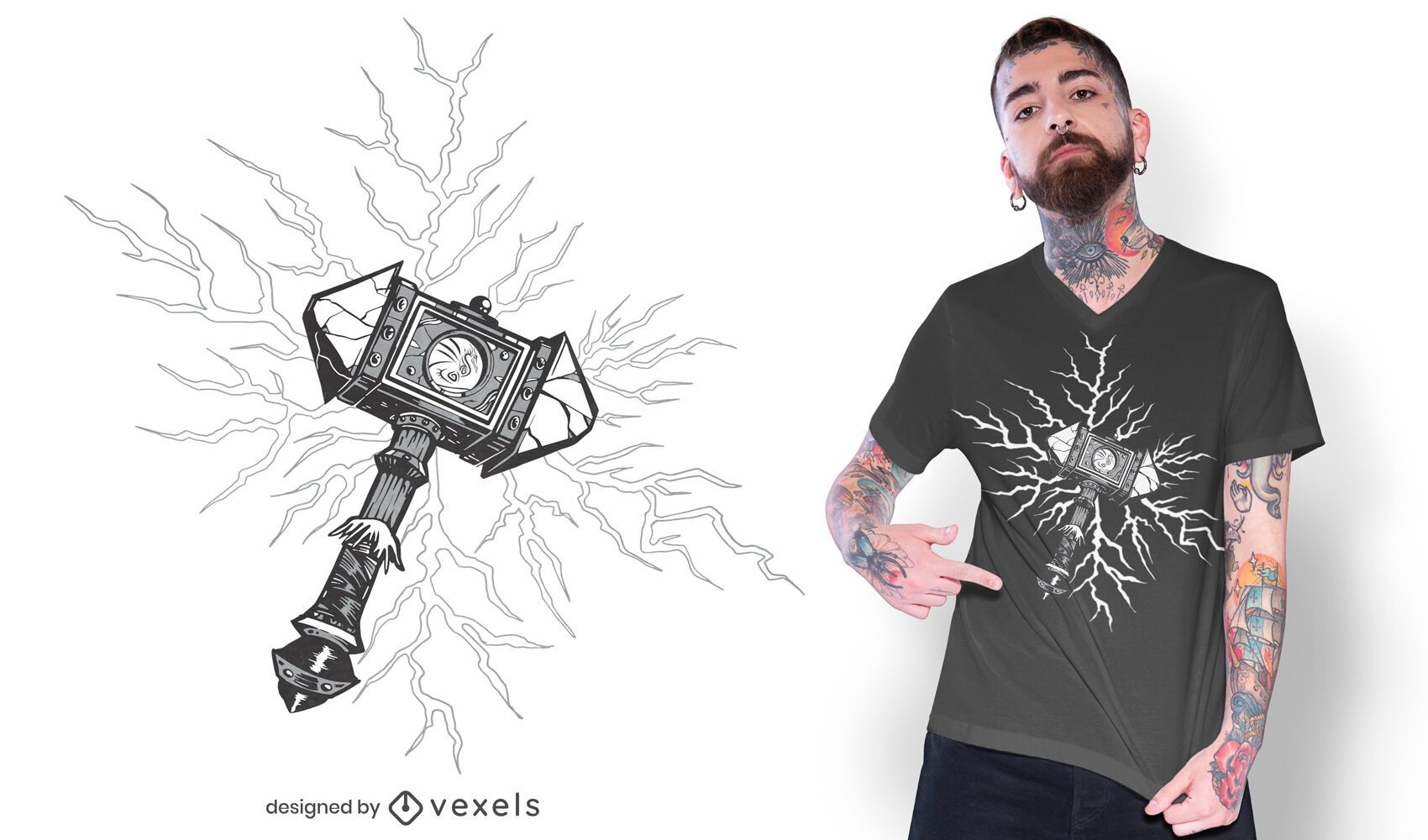Viking hammer t-shirt design