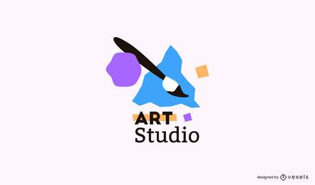 Plantilla de logotipo de pincel de estudio de arte