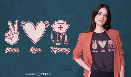 Design de camisetas de enfermagem do amor da paz
