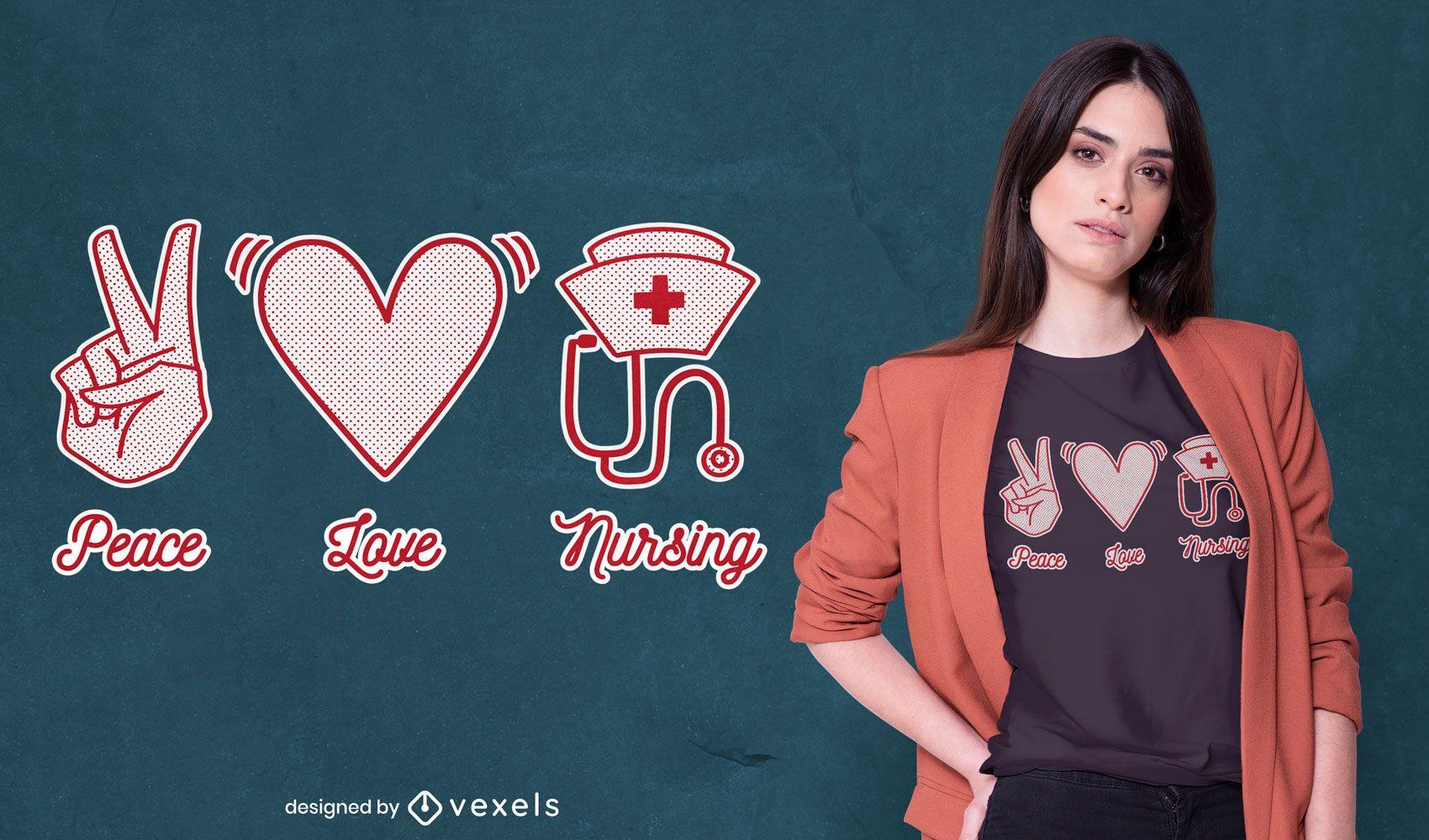 Diseño de camiseta de enfermería de amor de paz.