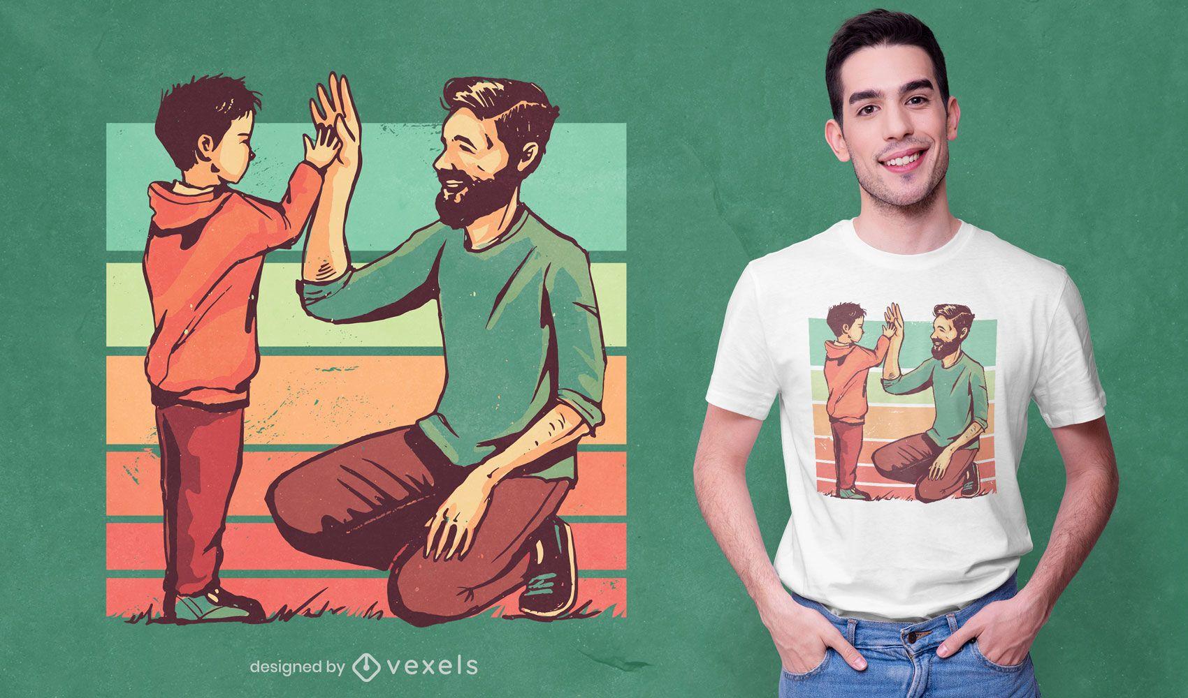 Diseño de camiseta retro padre hijo