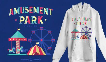 Diseño de camiseta de parque de atracciones.