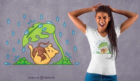 Diseño de camiseta gato jugando lluvia