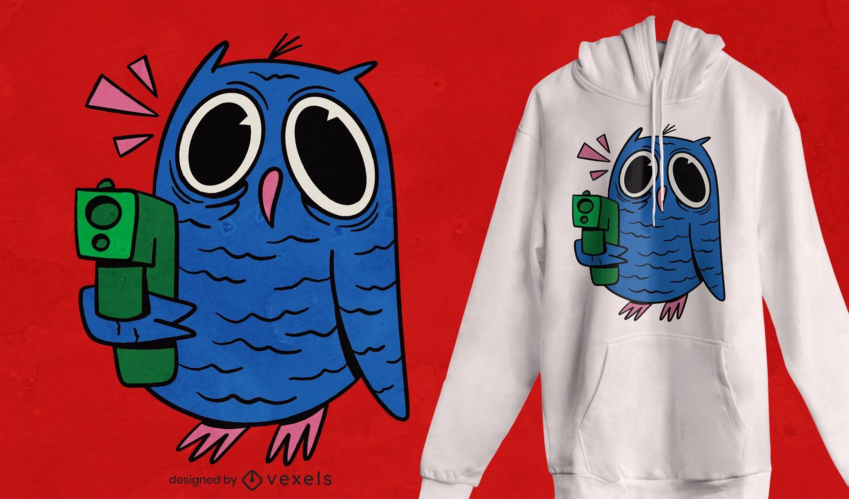 Design de t-shirt de coruja maluca