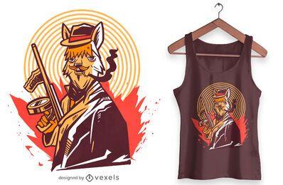 Diseño de camiseta gángster alpaca.