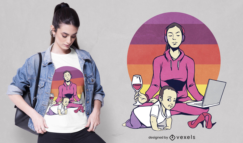 Diseño de camiseta yoga mom