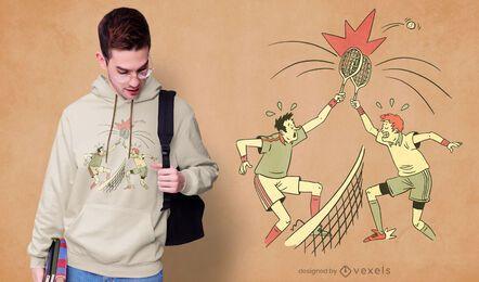 Design confuso de camiseta para jogador de tênis