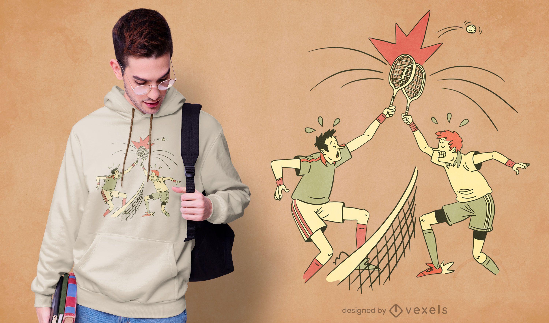 Diseño de camiseta de jugador de tenis confundido