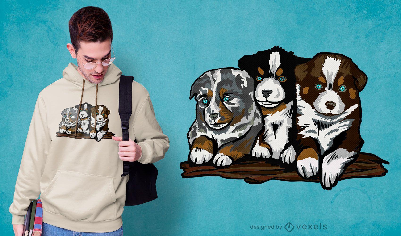 Diseño de camiseta de cachorros de pastor australiano