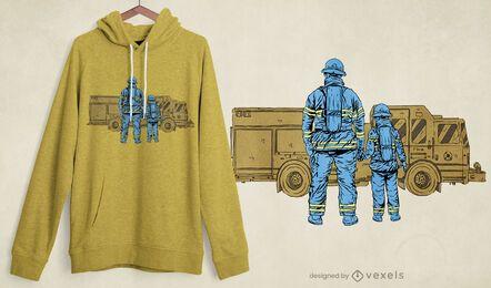 Design de t-shirt pai bombeiro